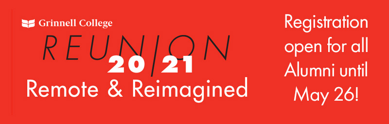 Black and White Text over Red Background. Text: Reunion 20/21 Remote & Reimagined - Registration open for all Alumni until May 26!