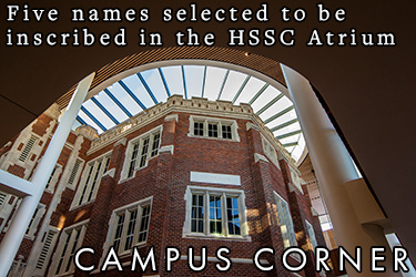 Text: Campus Corner - Five names selected to be inscribed in the HSSC Atrium. Image: Picture taken from the foot of the Carnegie Hall wall featured in the HSSC Atrium looking upwards to the skylights.