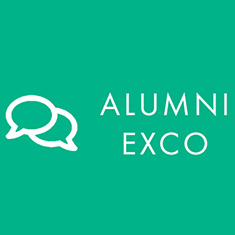 White Text on Teal background: Alumni Exco. Two text bubbles create a conversation icon next to the text.