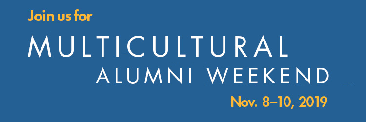 Text: Multicultural Reunion Weekend, Nov. 8-10, 2019. White text on blue background.