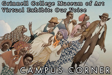 Image: Paining of black slaves floating towards heaven. Text: Grinnell College Museum of Art Virtual Exhibit: Our Voices. Campus Corner
