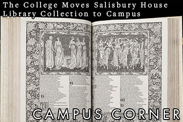 Image: A historical book open to a page with an roman or greek illustration. Text: The College moves the Salisbury House Library Collection to Campus.