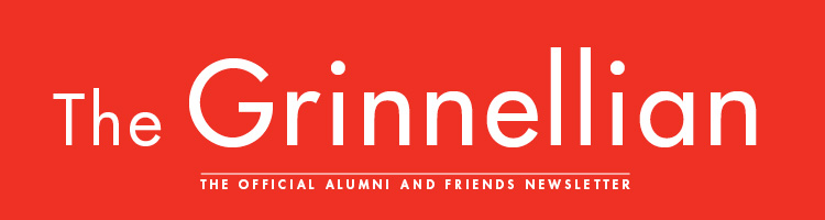 Text: The Grinnellian. The official Alumni and Friends Newsletter. Text is set on a red background.