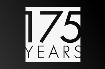 White logo with cutouts for the text so the text show the black to gray gradient. Text: 175 Years.