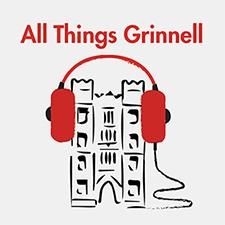 All Things Grinnell logo with headphones on gates tower