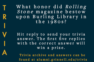 Text: Trivia - What honor did Rolling Stones magazine bestow upon Burling Library in the 1980's?  Hit reply to send in your answer. First five correct answers will win a prize.