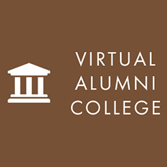 Icon: Columned Building. Text: Virtual Alumni College