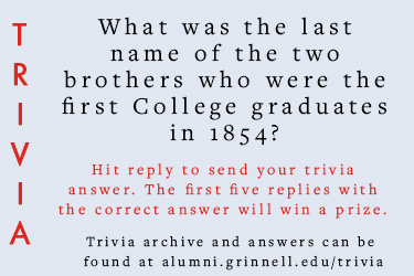 Trivia: What was the last name of the two brothers who were the first college graduates in 1854?  Hit reply to send in your answer. The first five correct answers get a prize.