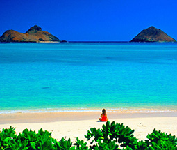 White sand beach in Hawaii