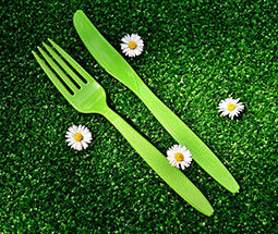 Green plastic silverware on green grass with white flowers.