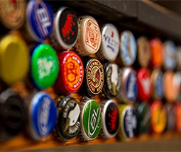 Bottle Caps on a wall as a decoration