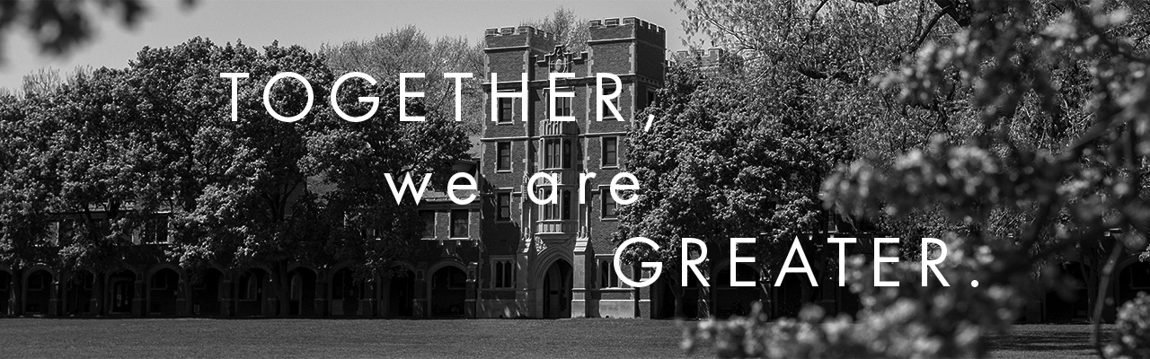 Black and White photo of Gates Tower on the campus of Grinnell College. Text overlay: Together, we are greater.