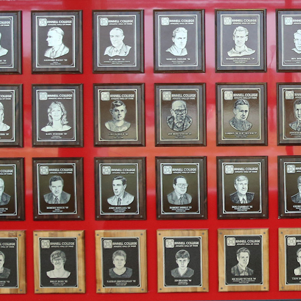 Plaques on the Athletics Hall of Fame at Grinnell College