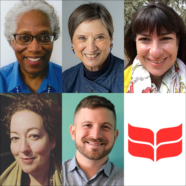 Collage: The five 2021 alumni award recipients and the Grinnell College Laurel Leaves. Pictured upper left to lower right: Frances Gray '71, Sheena Brown Thomas '71, Sabrina Eagan '96, Sally Campbell-Galman '96 & Rev. Jake Joseph '11