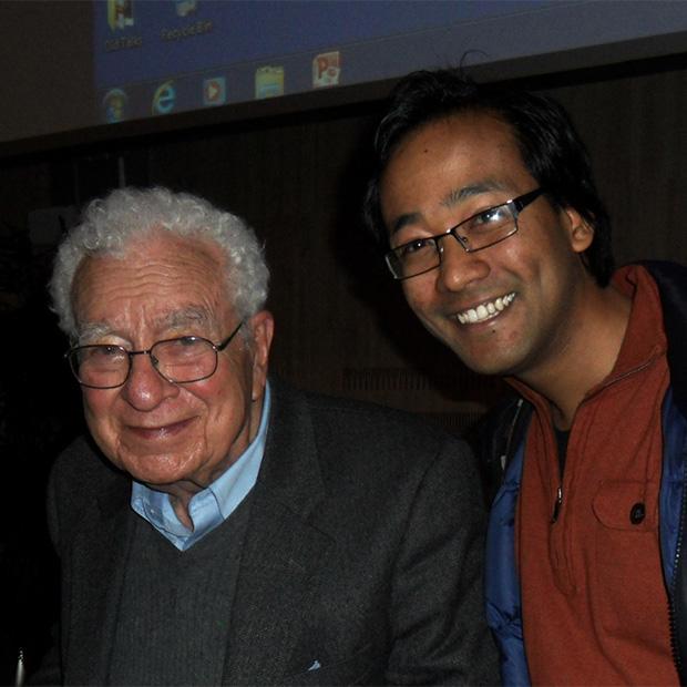 Suyog Shrestha '06, right, with physics Nobel Prize winner Murray Gell-Mann