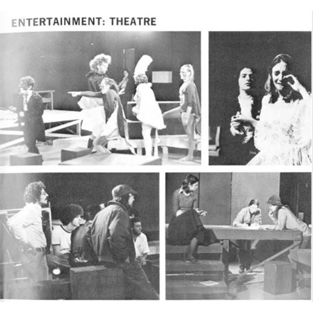 A page in Grinnell's 1976 yearbook shows Sandy Moffett, lower left photo standing on left, and some of the productions he directed or was involved in during the 1975-76 school year.