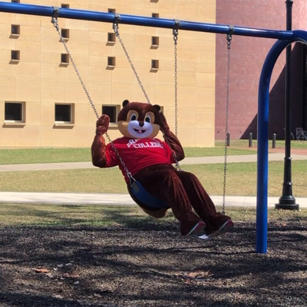 Scarlet the Squirrel swinging on the swing set installed next to the JRC.