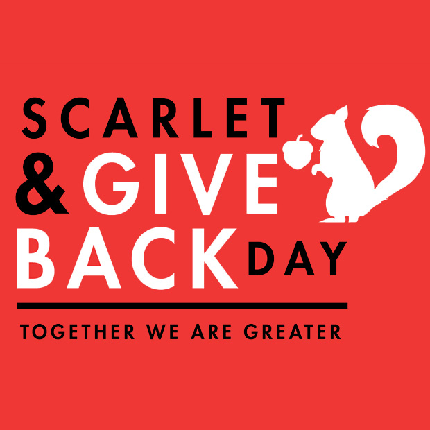 Black and White Text over Red Background. Text: Scarlet & Give Back Day - Together we are Greater. Icon: A squirrel holding an acorn.