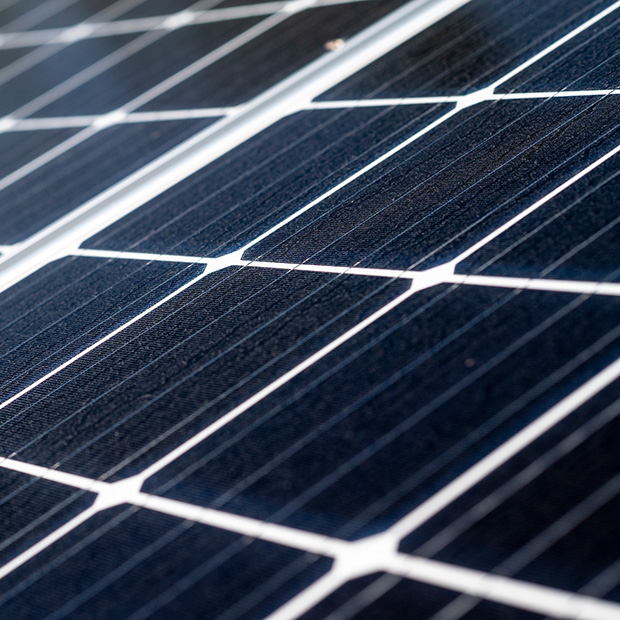 A zoomed in picture of a solar panel.