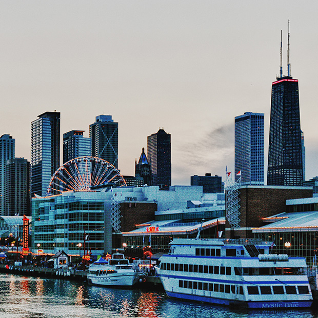 Chicago's Navy Pier with the Sears Tower in the background.