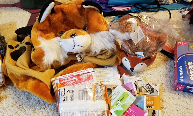 Contents of the fox-themed care package are displayed before Kathryn DiFoxfire Wilson '93 shipped it to Grinnell.
