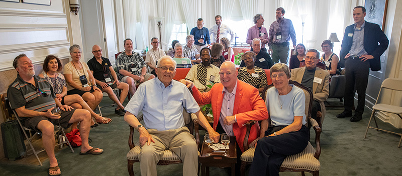 A group shot of the attendees of the reception for Luther and Jenny Erickson at Reunion 2019.