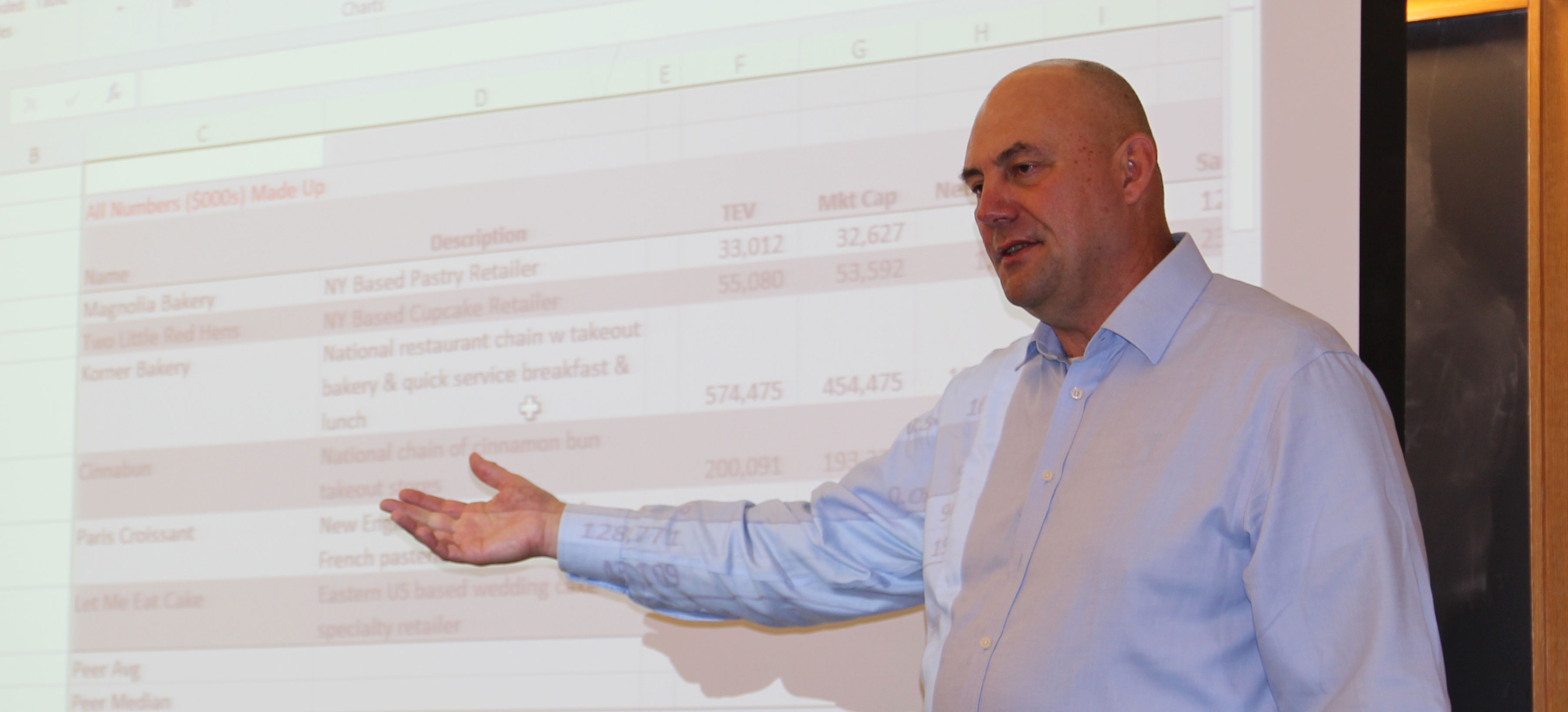 Steve Moyer explains a financial spreadsheet on day three of the finance boot camp he taught in September.