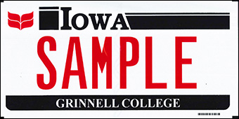Image of a sample Grinnell College license plate. Red Laurel Leaves in the upper right corner with Plate Number text. Iowa in black at the top and Grinnell College in white on a black bar at the bottom.