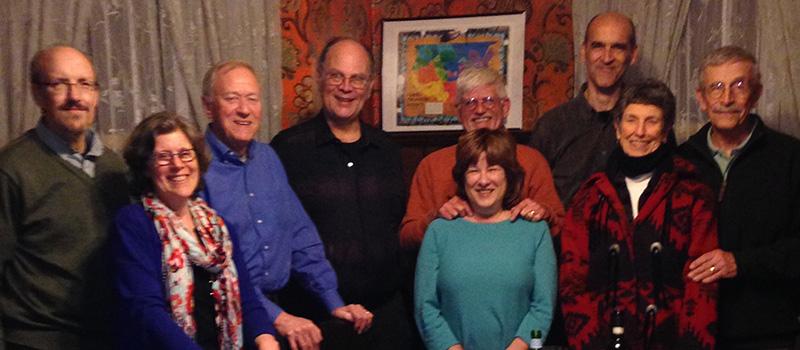 Pictured, from left to right are Bryan Crockett '76, Pam (Greenblatt) Crockett '76, David Wagner '76, Keith Fort '75, Jack Couch '74, Alice Bernstein '76, Mark Anderson '77, Betty Moffett, and Sandy Moffett.